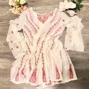 FREE PEOPLE Red Embroidered White Ruffle Dress